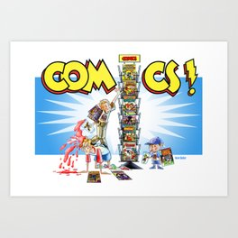 Comic books and the Spiner Rack Art Print