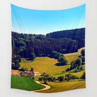 hiking Wall Tapestries featuring Hiking through springtime scenery by Patrick Jobst