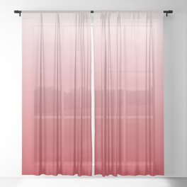 Holly Berry Red Gradient Sheer Curtain