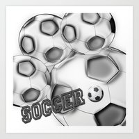 soccer Art Prints featuring Soccer  by LoRo  Art & Pictures