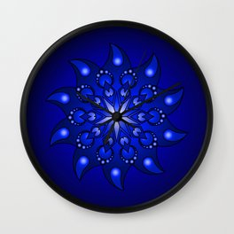 Extreme blue mandala Wall Clock