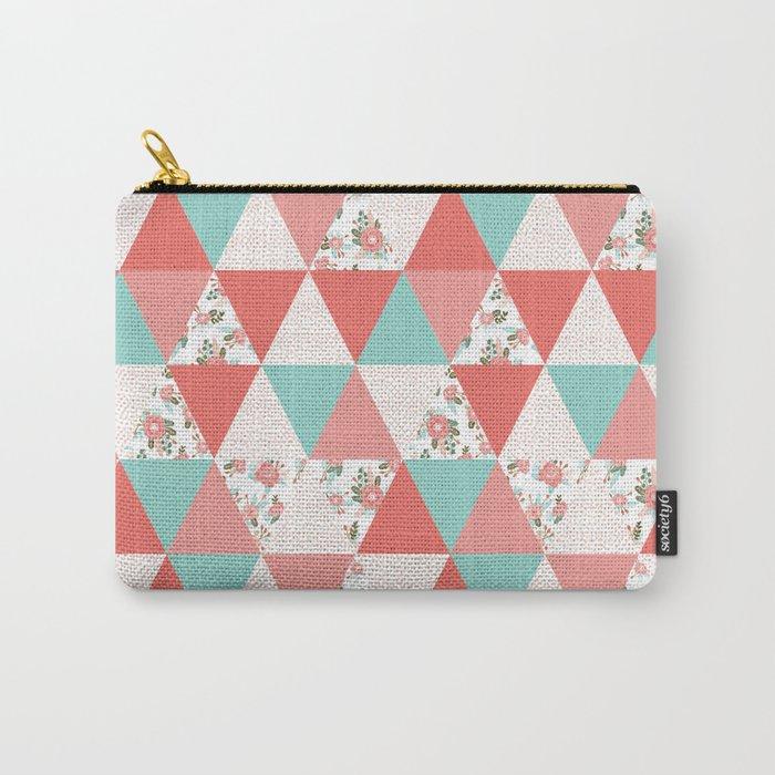Triangle quilt pattern cute florals dots cheater quilt blanket quilter must have cute baby shower  Carry-All Pouch