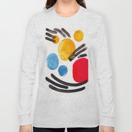 Mid Century Modern Abstract Juvenile childrens Fun Art Primary Colors Watercolor Minimalist Pop Art Long Sleeve T-shirt