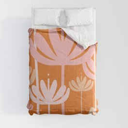Bali Flowers Cheerful Floral Pattern in Pink and Orange Comforters
