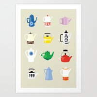 Retro Teapots Art Print