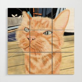 Oliver the Sniffy Red Tabby Cat Wood Wall Art