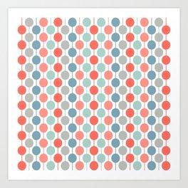 Coral Geometric Circles Retro Mid Century Modern Art Print