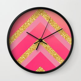 Pink, Rosé, Coral, Gold Triangles - Ombré Watercolor Wall Clock