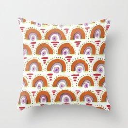 Boho Rainbow - Orange Throw Pillow