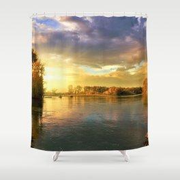 Autumn Foliage and Sunrise along the riverside landscape Shower Curtain