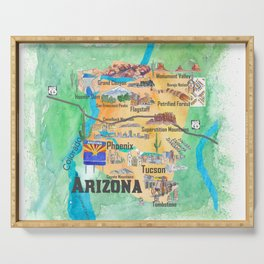 USA Arizona State Travel Poster Illustrated Art Map Serving Tray