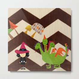 cute witch with dragon Metal Print