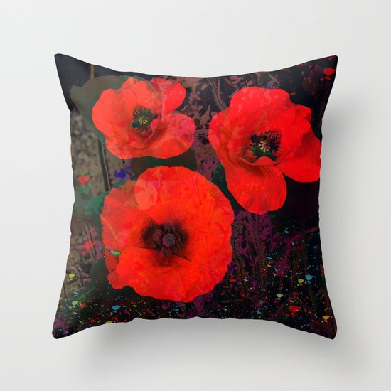 Popping Poppies Throw Pillow