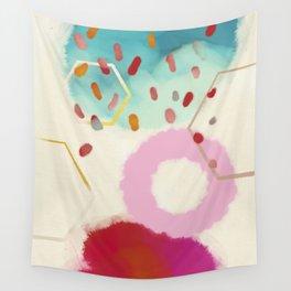pink circle abstract dots dancing polka in rain Wall Tapestry