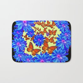 Blue Flowers Butterfly Black Color art Bath Mat