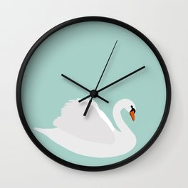 white swan on dusty aqua Wall Clock