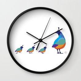 Quail Family Wall Clock