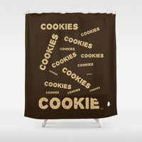cookies Shower Curtains featuring COOKIES! by Lindsay Spillsbury