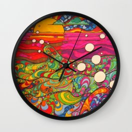 Psychadelic Illustration Wall Clock