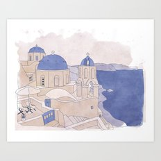 Santorini, the Greek jewel of Aegean Sea sepia Art Print