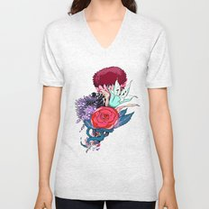 Chrysanth Wisteria & Lily - & Rose  Unisex V-Neck