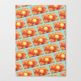 Waffle Pattern - Blue Canvas Print