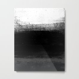 Ocean No. 2 - Minimal ocean abstract painting in black and white Metal Print