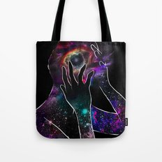 Girl with the Universe inside of her. Tote Bag