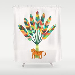 Whimsical travelers palm with tiger Shower Curtain