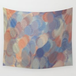 Blue and Peach Puffs Wall Tapestry