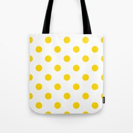 Polka Dots - Gold Yellow on White Tote Bag