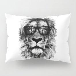 Hipster Lion White Pillow Sham
