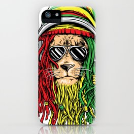 RASTA LION Rastafarian Jamaican reggae Music shirt iPhone Case