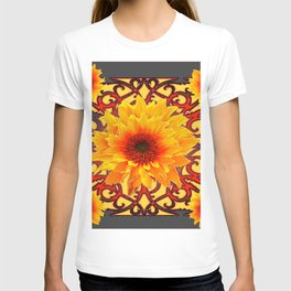 Charcoal Grey Red Sunflowers Pattern Art T-shirt