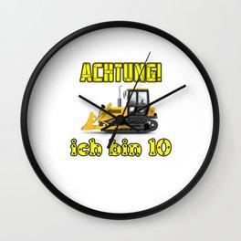 Achtung! Ich bin 10 Geburtstag baufahrzeuge Wall Clock
