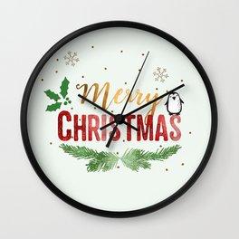 Merry Christmas Penguin! Wall Clock