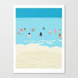 Stoked - memphis throwback retro neon pop art illustration socal cali beach surfing swimming sea Canvas Print