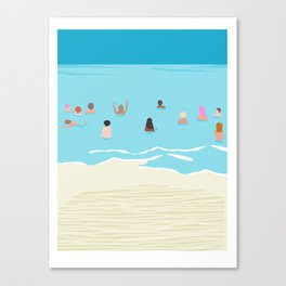Stoked - memphis throwback retro neon pop art illustration socal cali beach surfing swimming sea Canvas Print