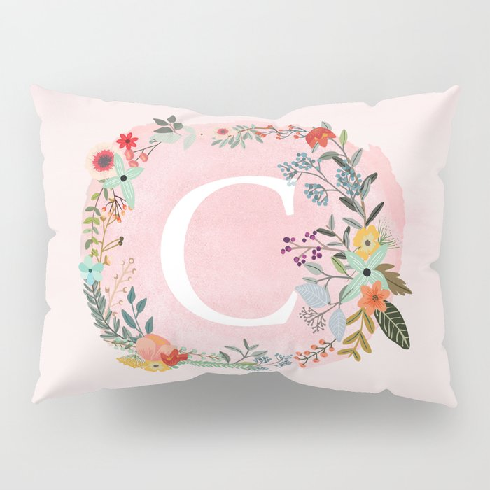 Flower Wreath with Personalized Monogram Initial Letter C on Pink Watercolor Paper Texture Artwork Pillow Sham