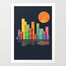 skyline nightfall Art Print