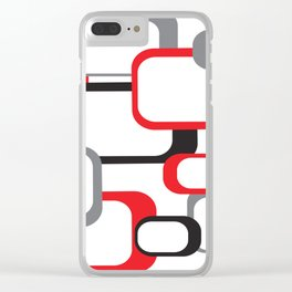 Red Black Gray Retro Square Pattern White Clear iPhone Case