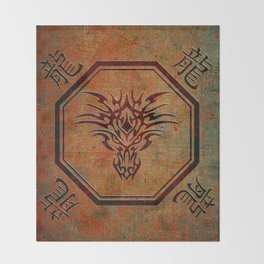 Tribal Dragon Head In Octagon With Dragon Chinese Characters Throw Blanket