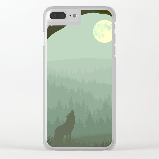 Wolf layer with moon Clear iPhone Case