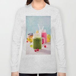 Close-up of green fresh smoothie with fruits, berries, oats and seeds, selective focus Long Sleeve T-shirt
