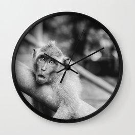 Cute Monkey (Black and White) Wall Clock