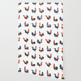 Rise of the Rooster // watercolor roosters standing and crowing Wallpaper