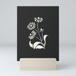 White Decorative Flower on Black, Minimalist line drawing, Modern art print with flower. Mini Art Print