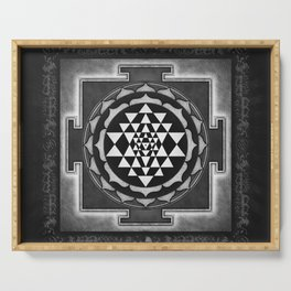 Sri Yantra XVII - Silver White Serving Tray