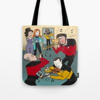 band Tote Bags featuring Star Trek Jam Band by Jessica Fink