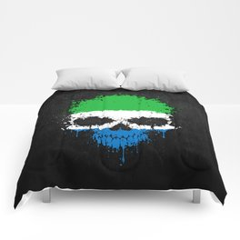 Flag of Sierra Leone on a Chaotic Splatter Skull Comforters